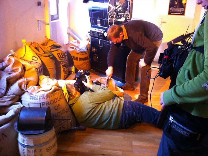 Dreharbeiten des WDR in der Kaffeewelt